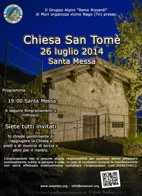 """Locandina per la """"Messa a San Tomè"""" del 26 luglio 2014"""