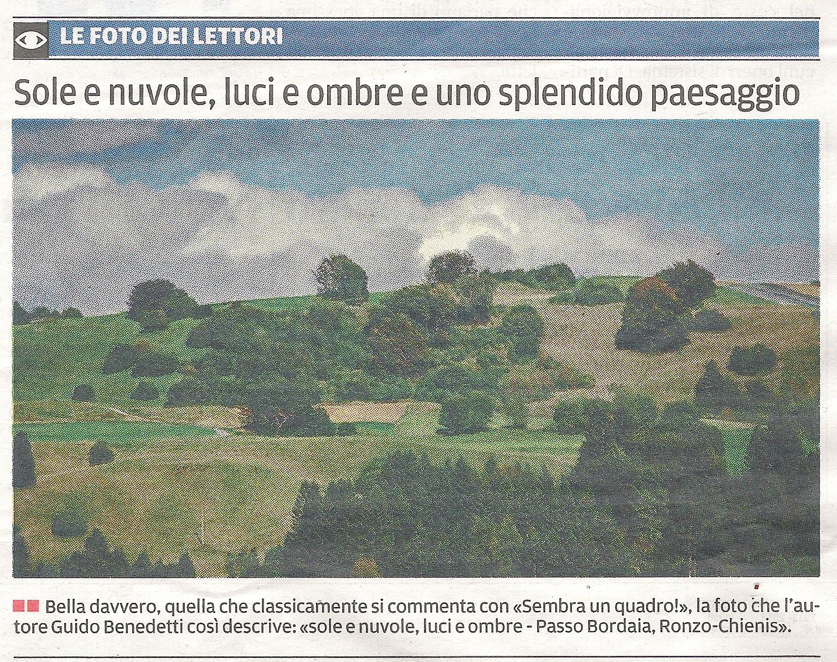 """""""Sole e nuvole, luci ed ombre"""" su IL TRENTINO del 30 settembre"""