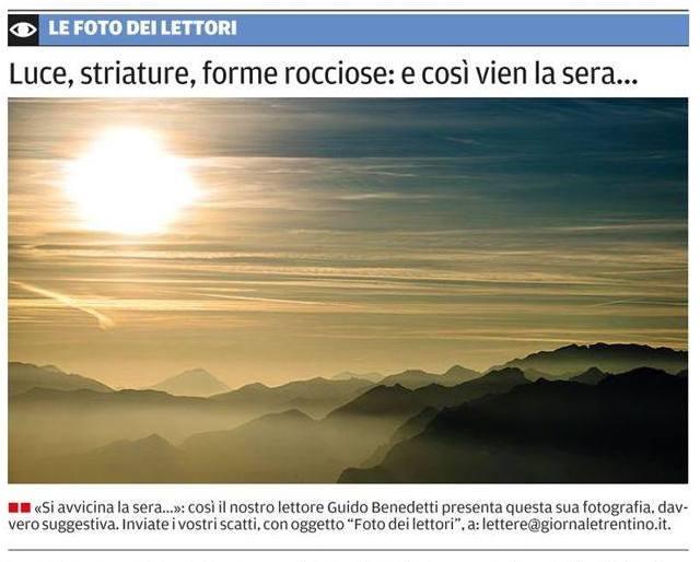 """""""Si avvicina la sera"""" oggi sul quotidiano TRENTINO"""